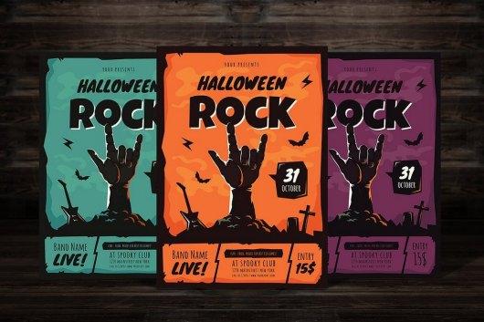 Halloween Rock Party Flyer Template