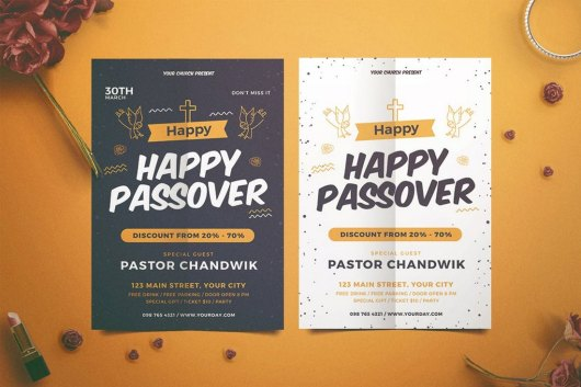 Happy Passover Church Bulletin Template