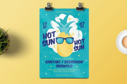 Hot Sun Party Flyer