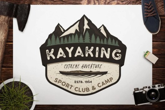 Kayak Retro Camping Adventure Logo