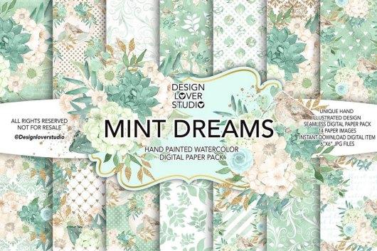 MINT DREAM - Watercolor Digital Paper Backgrounds