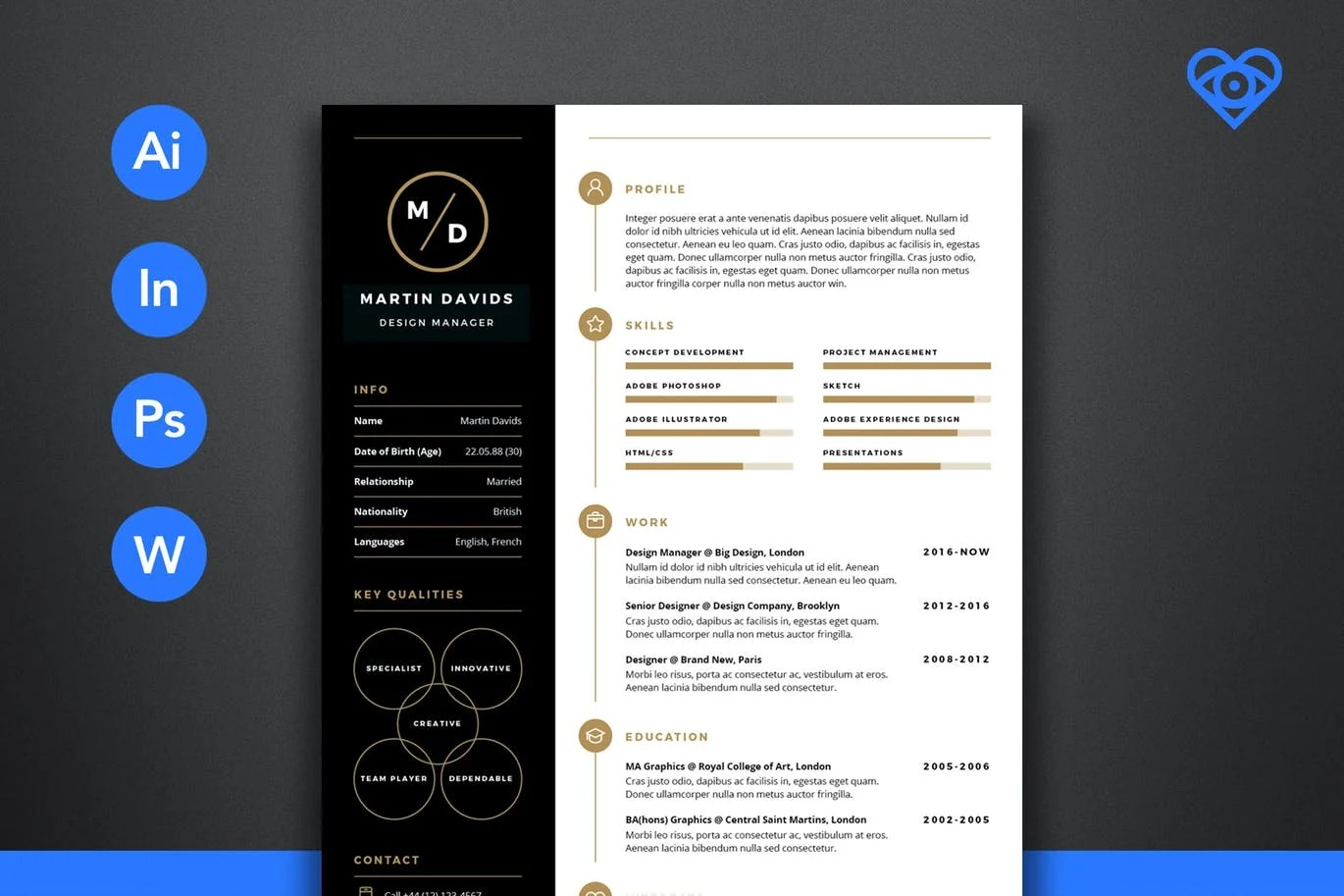 Envato Resume Templates 50 43 Best Cv And Resume Templates Of 2018 Design Shack