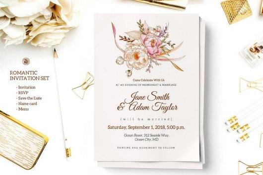 Romantic custom illustration Invitation Set