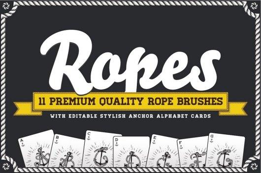 Rope Brush Set with Stylish Anchor ABC