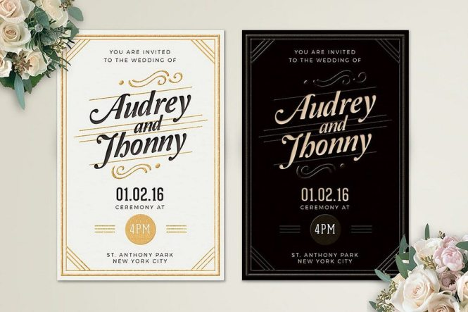 This Simple Wedding Invitation Template Features A Retro Inspired Design That Gives More Elegant Look To Your Card