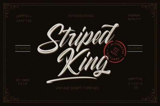 Striped King Handlettering Script
