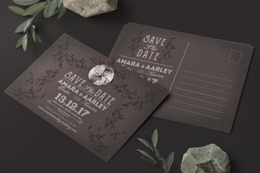 Vintage Save the Date Post Card Template