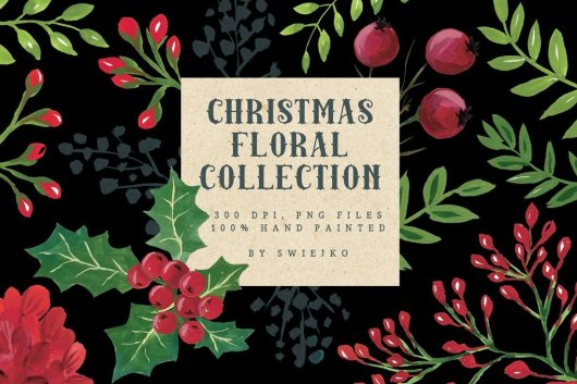 Watercolor Christmas Florals Collection
