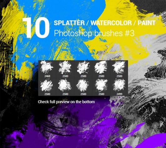 Watercolor Splatter Paint Photoshop Brushes Vol.3