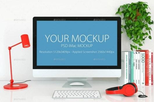 White iMac Desktop Mockup Template
