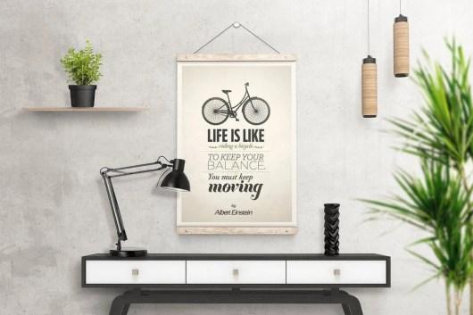 Wooden Poster Hanger Mockup