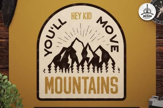 mountains vintage badge