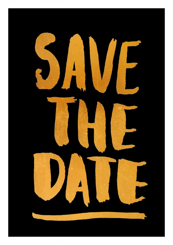 Save The Date Gold Print Statements & Quotes Cards