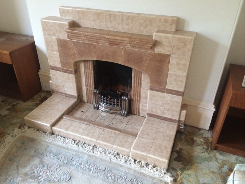 fireplace makeover; before