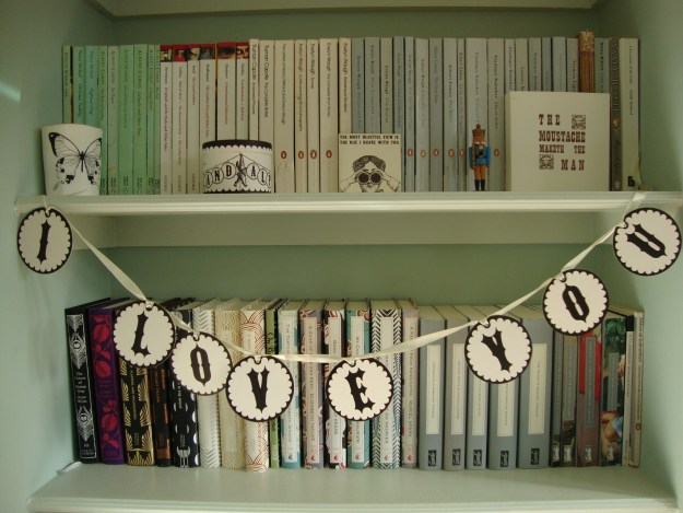 Liberty Alphabet garland Vintage, bookshelf, shelfie
