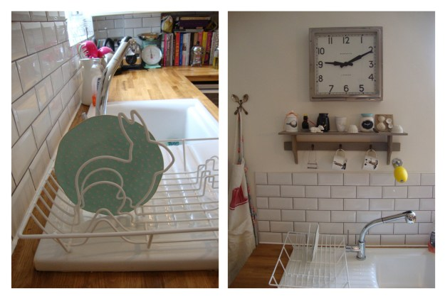 Bunny Dishrack Rustic Vintage Industrial Kitchen - Metro Tiles, Newgate clock, ceramic sink, french lemon savon,