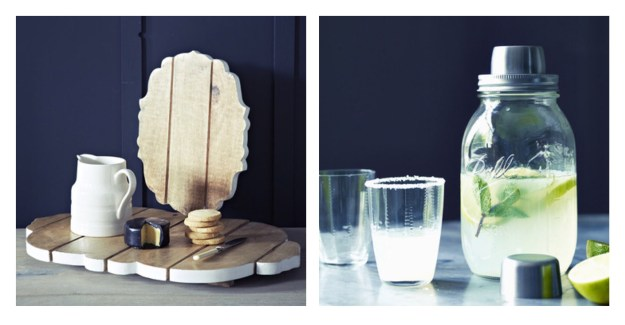 Rowen & Wren Ball Mason Jar Cocktail shaker & wooden cheeseboard