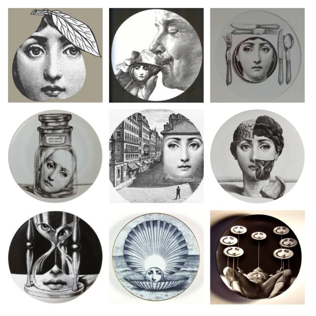 Lina Cavalieri Tema e Variazioni Fornasetti Themes and variations series, pear, shell, street, plate, glass, egg timer sand