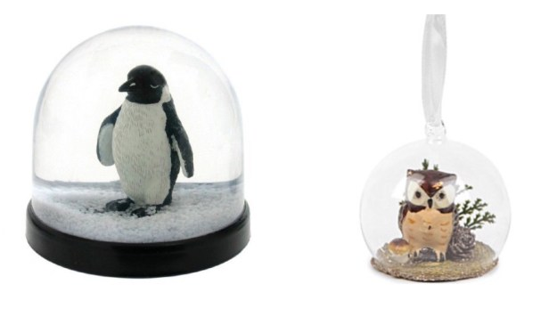 Penguin Snowglobe forest-owl-glass-bauble decoration