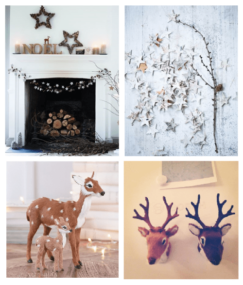 Winter Wonderland Deer, pine cones & Birch star Decoration