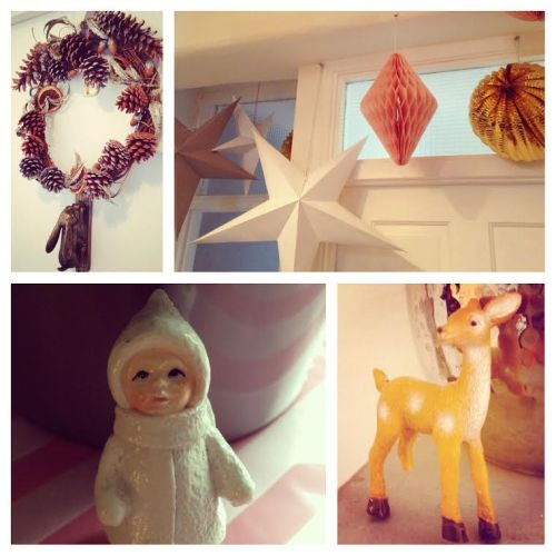 eclectic vintage kitsch christmas interior craft homemade cake topper deer figurine eskimo paper star decorations glitter cupped acorns wreath