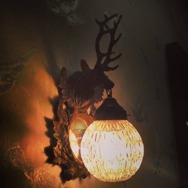 Eclectic Vintage Flea Market Deer stag wall light with mirror