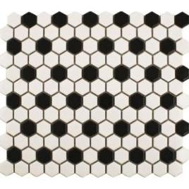 black-and-white-hexagon-matt-mosaic-floor-tile