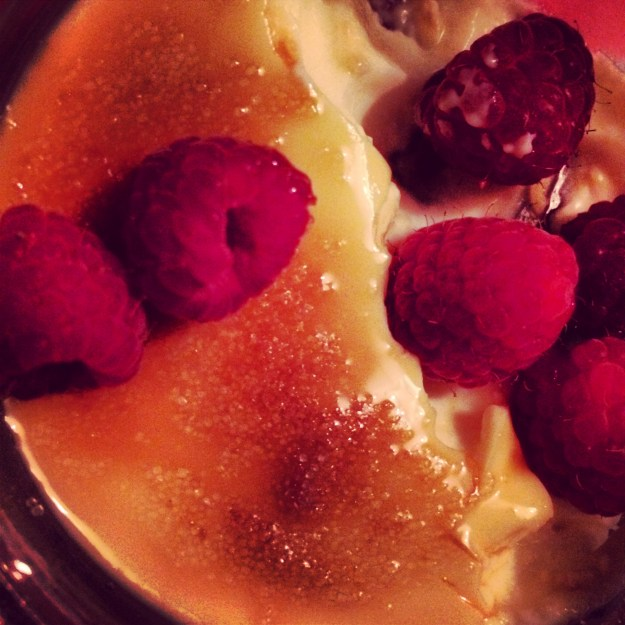 Raspberries, Creme Brulee