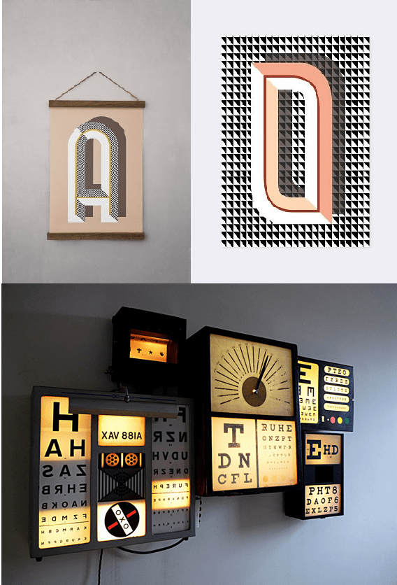 Typography Homewares, vintage eye test, Ferm Living Bau Deco