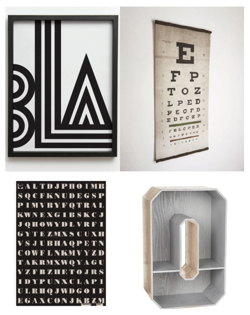 Typography Homewares, vintage eye test, alphabet wrap, ben de lisi debenhams, bla poster one must dash