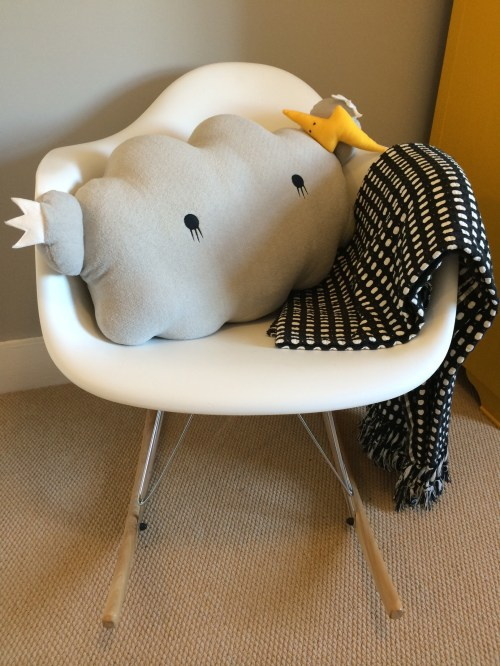 Noodoll Cloud cushion face eames style repro rocking chair