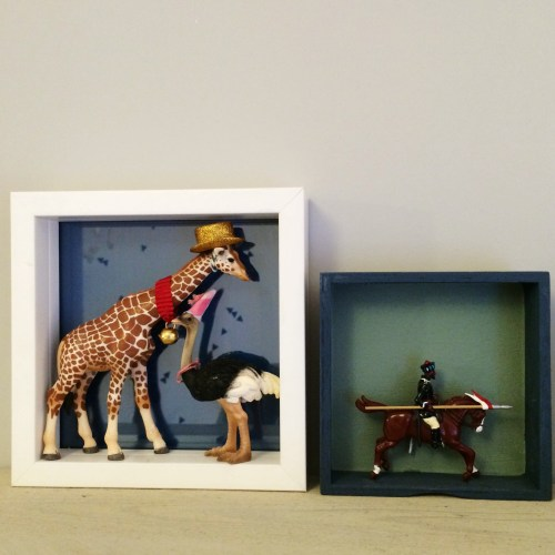 Upcycle old box toy soldier schliech animal figurines circus nursery childs bedroom