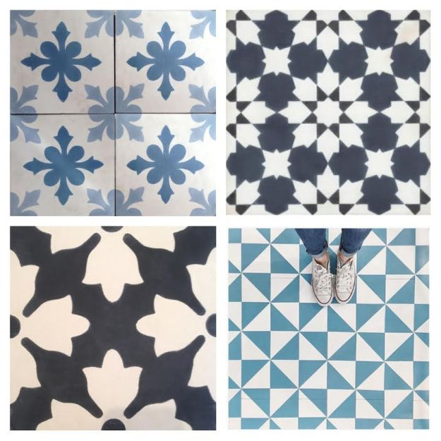 Encaustic patterned tiles blues and blacks