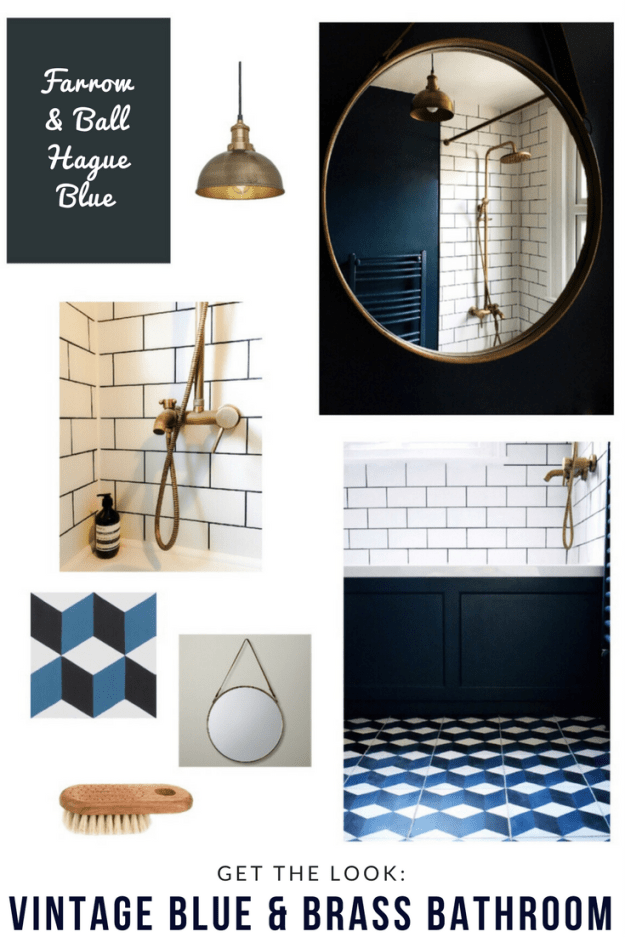 Vintage geometric bathroom interior style home decor brass-bath-tap-fittings-cube-patterned-encaustic-cement-tiles-hague-blue-bathroom