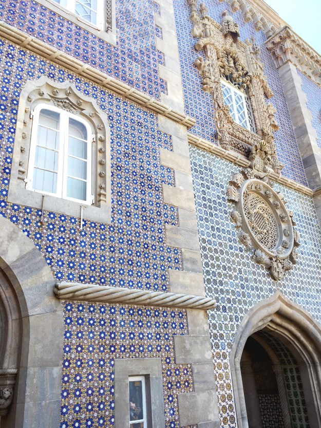 Blue portuguese patterned tiles, architecture, Pena Palace Sintra