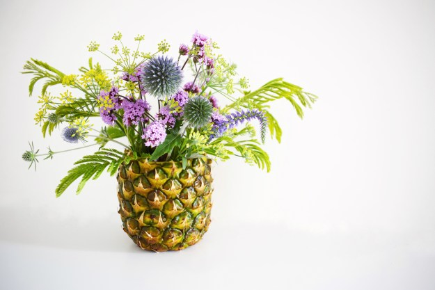 DIY Pineapple vase flower arrangement styling interiors