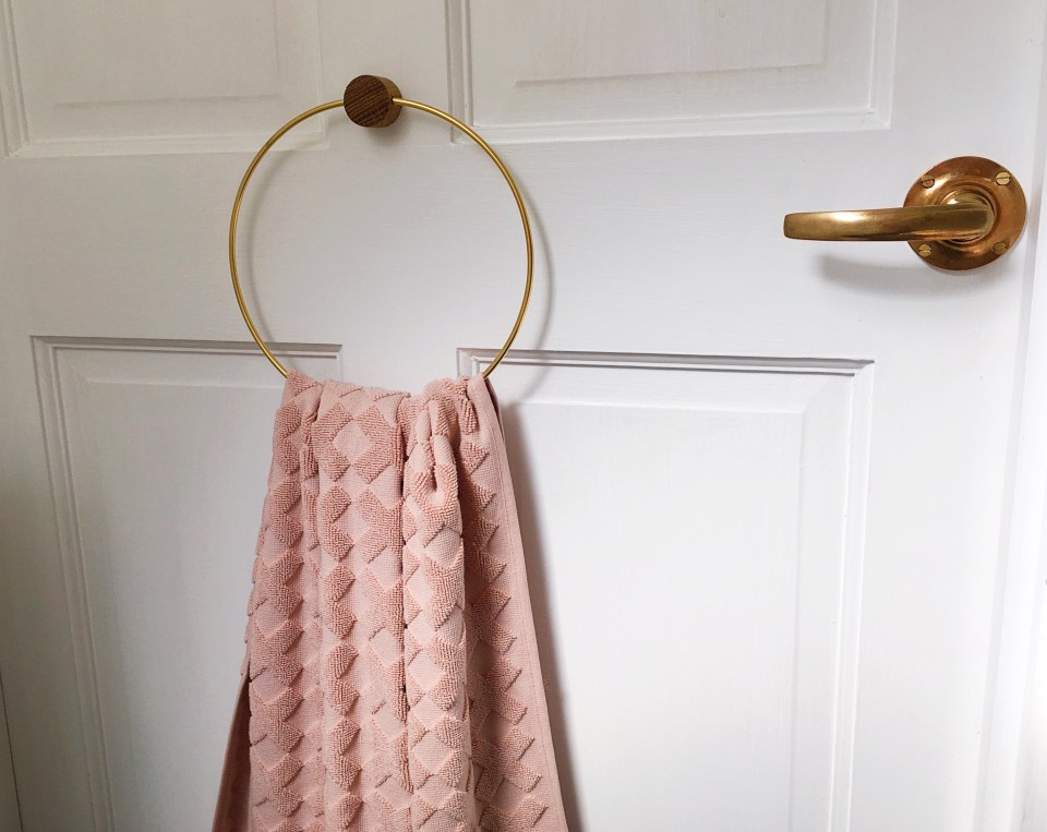 Blush pink towel brass handle and holder, vintage modern bohemian bathroom