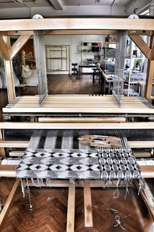 Rowenna Mason monochrome textile design on loom