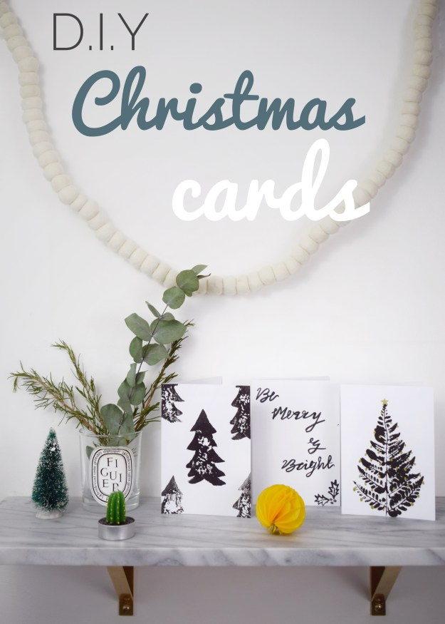 christmas craft, how to make christmas cards, scandinavian simple monochrome designs using brushstroke lettering, leaf and potato printing