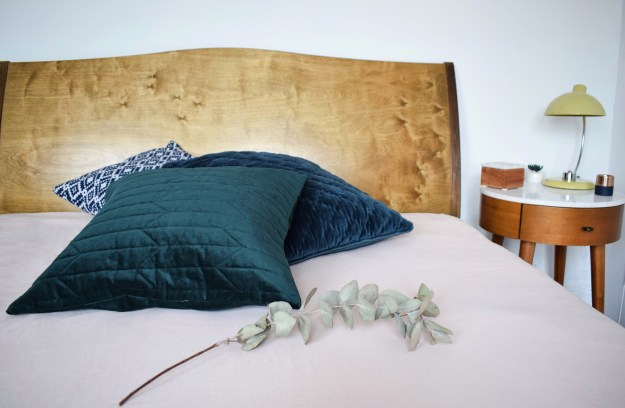 velvet emerald and blue cushions, pink washed linen duvet