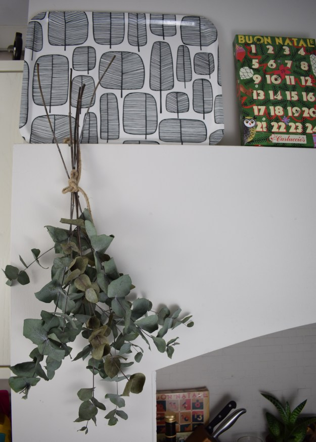 Christmas styling, hanging eucalyptus sprigs