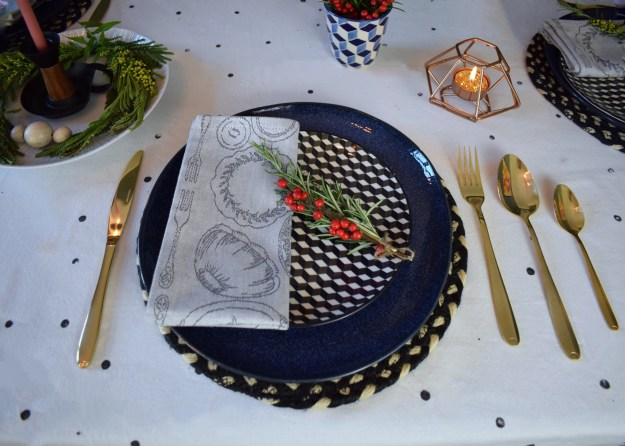 Winter dining christmas styling ideas and inspiration, simple nordic scandinavian design, table setting gold cutlery