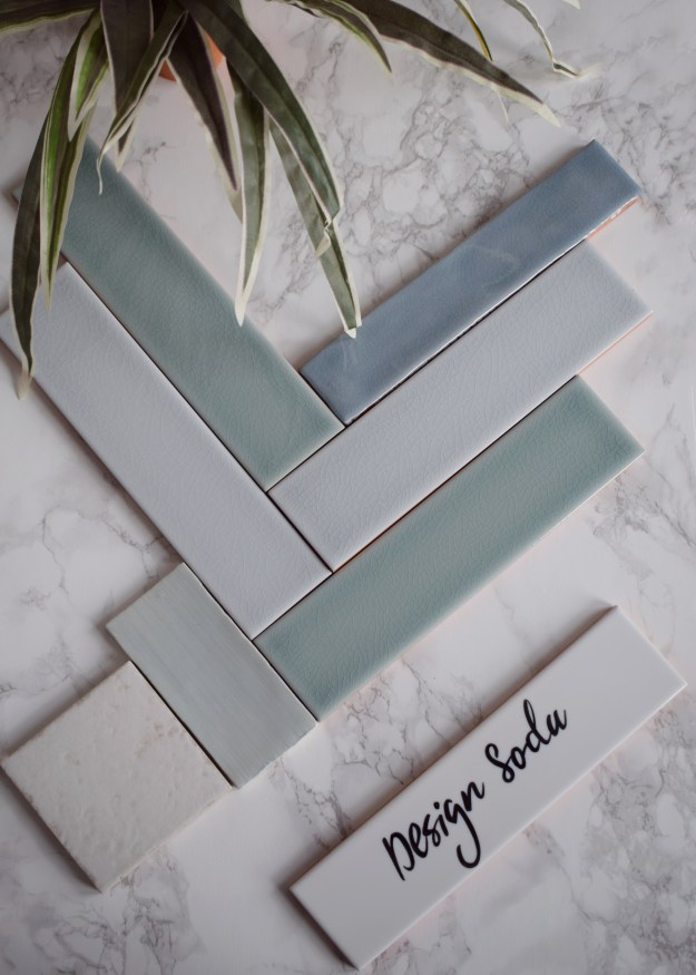 Decorum Tiles Handpainted blues and greens interior bathroom kitchen ideas and inspiration