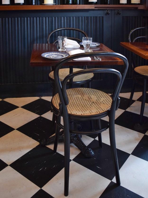 Quality Chop House London, English bistro interiors, rattan cafe chair