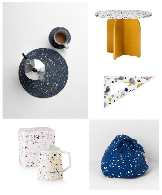 terrazzo interiors trend, uk homewares pattern where to buy decor inspiration, ruler, teapot, bean bag