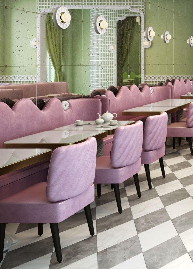 Laduree Geneva by india mahdavi at Quai des Bergues, design inspiration pink green velvet truchet