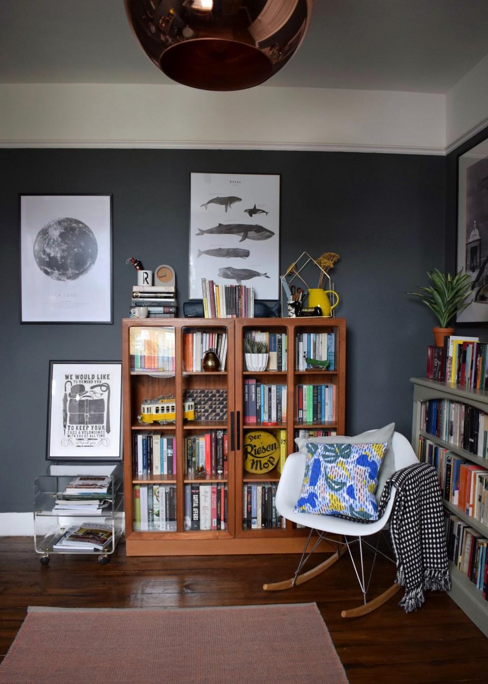 bohemian modern mid century vintage farrow downpipe modernist study home office styling ideas and inspiration eames rocker, teak cabinet, tom dixon copper light x