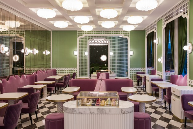 Laduree Geneva by india mahdavi at Quai des Bergues, design inspiration pink green velvet truchet