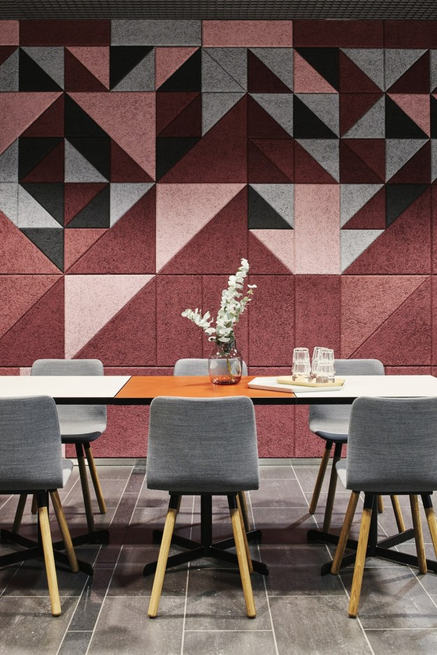 geometric colourful cork wall, cork interiors trend ideas, uses and inspration in interior design and home decor