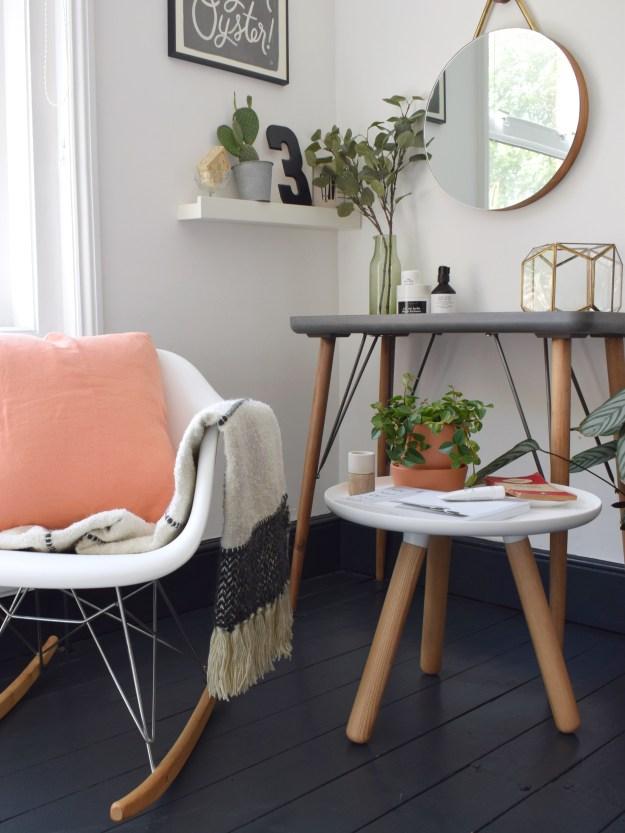 bohemian modern bedroom, summer styling, pink and green scandinavian, coral cushion malagoon throw